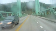 Stock Video Footage of Rainy Bridge Drive 2