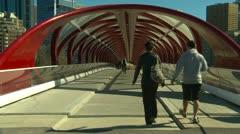 Santiago Calatrava designed Peace bridge, Calgary, timelapse Stock Footage