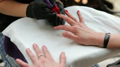Manicure Painting Nails Stock Footage
