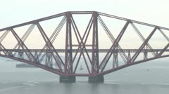 Train over Cantilever Bridge Stock Footage