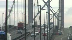 Suspension Bridge Traffic - stock footage
