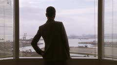 Businesswoman looking out window over port Stock Footage