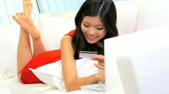 Asian Girl Home Shopping Online Credit Card  Stock Footage