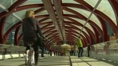 Santiago Calatrava designed Peace bridge, Calgary, #3 Stock Footage