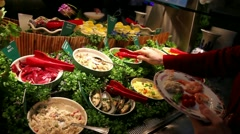 Seafood buffet Stock Footage
