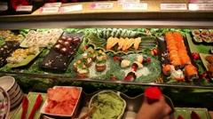 Sushi buffet Stock Footage