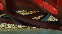 Santiago Calatrava designed Peace bridge, Calgary, detail tilt Stock Footage