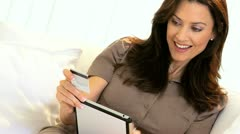 Brunette Home Online Shopping  Stock Footage