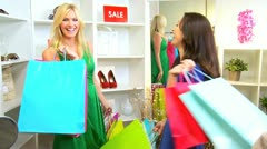 Girls Shopping Trip Bags  Stock Footage