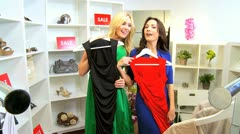 Girlfriends Fun in Fashion Outlet  Stock Footage