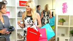 Female Paying Goods Small Boutique  - stock footage