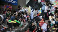 Songkran Water Festival in Bangkok, Thailand Stock Footage