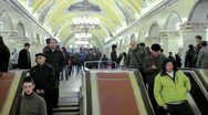 Stock Video Footage of moscow subway escalator