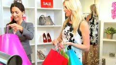 Fashionable Female Spending Fashion Outlet  Stock Footage