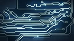 Blue circuit board providing signals loop hi-tech background Stock Footage