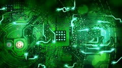 Green computer circuit board background loop Stock Footage