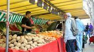 Potatoes on the market Stock Footage
