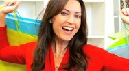 Smiling Brunette Female Shopper  Stock Footage
