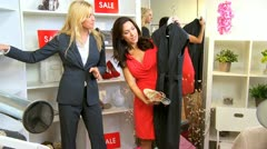 Caucasian Brunette Client in Exclusive Boutique  - stock footage