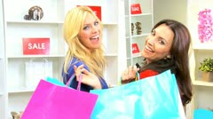 Smiling Female Shoppers  - stock footage
