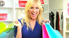Blonde Girl Successful Shopping Trip  - stock footage