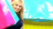 Close Up Happy Female Shoppers  Stock Footage