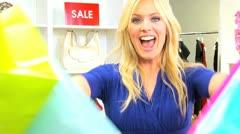 Caucasian Girl Designer Shopping  Stock Footage