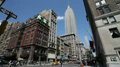 Empire State Building New York City Manhattan tilt down wide - stock footage