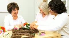 Senior Multi Ethnic Ladies Craft Class  - stock footage
