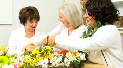 Senior Ladies Flower Arranging  Stock Footage