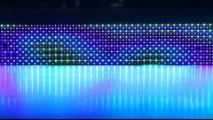 LED panel colorful animation, close up view Stock Footage
