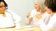 Multi Ethnic Female Seniors Social Morning  Stock Footage