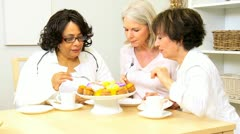 Multi Ethnic Female Seniors Social Morning  Stock Footage