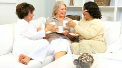 Mature Ladies Coffee Morning Friends House  Stock Footage
