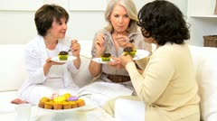 Mature Ladies Relaxing Afternoon Tea Party  Stock Footage