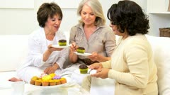 Multi Ethnic Female Seniors Indulgence Afternoon  - stock footage