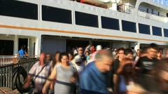 Crowd of people get off. Timelapse Stock Footage