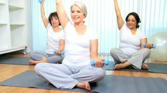 Health Club Yoga Group Senior Ladies  Stock Footage