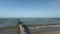 Sea - Baltic Sea with Wooden Stakes - V1 Stock Footage