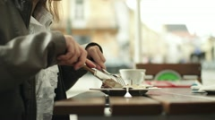 Woman eating tasty dessert in cafe, steadicam shot HD Stock Footage