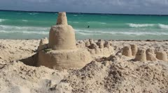 Sandcastle with Ocean Waves Stock Footage