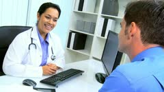 Hispanic Medical Consultant Meeting Office Manager Stock Footage