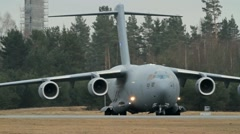 C17 Globemaster taxing Stock Footage
