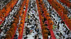 Monk Mass Alms Giving in Bangkok Stock Footage