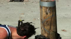 wood chopping - stock footage