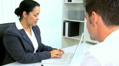 Businesswoman Meeting Hispanic Lawyer Stock Footage