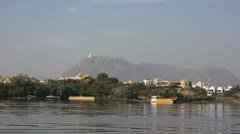 Passing by Lake Pichola ear Udaipur, Rajasthan, India - stock footage