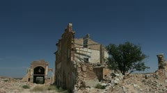 Spain Aragon Belchite bombed houses Stock Footage
