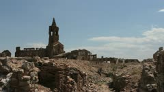 Spain Aragon Belchite church Stock Footage