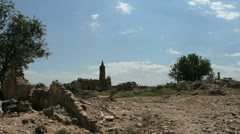Spain Aragon Belchite ruined wall church tower Stock Footage